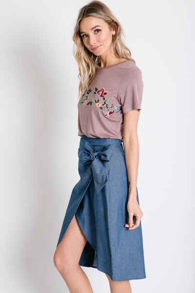 Soft Floral Embroidered Western Tee