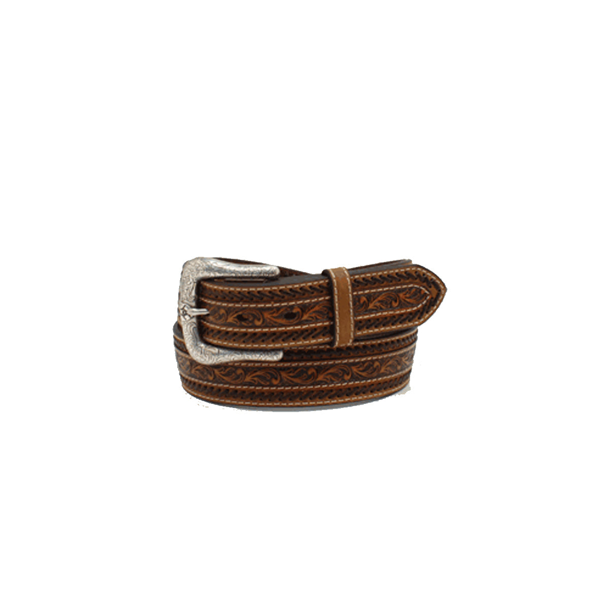 Ariat Men's Floral Tooled Leather Belt with Buck Lacing - Tan