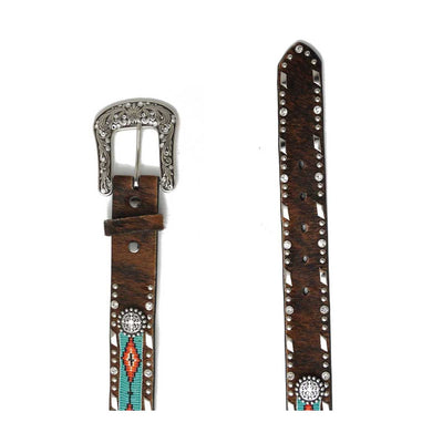 M & F Western Ariat Women's Aztec Beaded Cowhide Western Belt - Brown