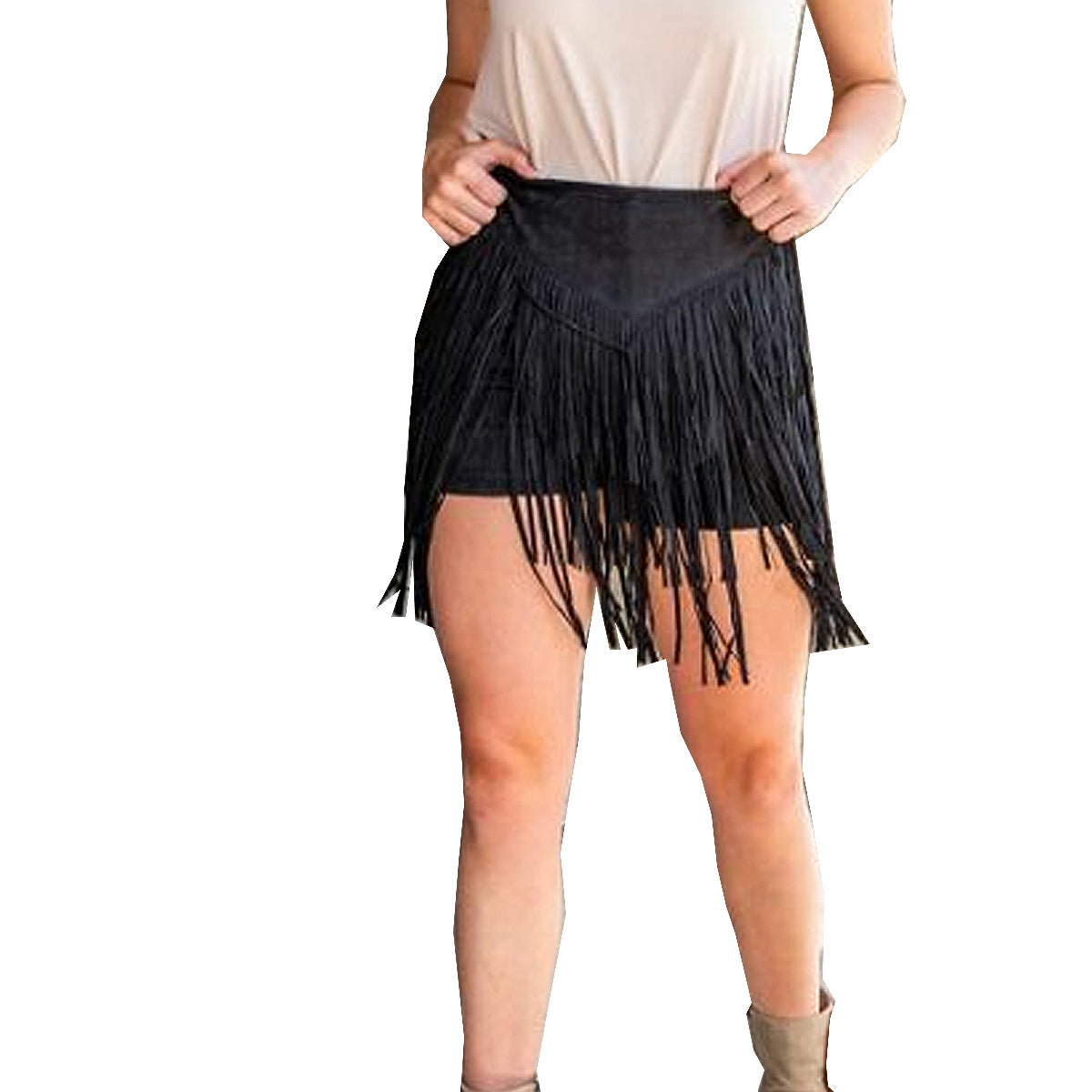 L & B Women's Suede Fringe Shorts - Black