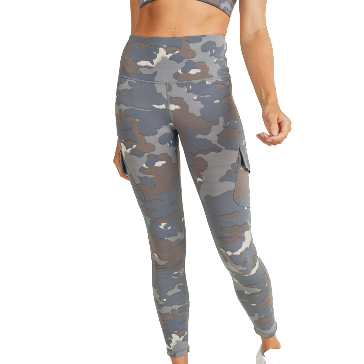 Mono B Women's Plus Size Cargo Hybrid Leggings - Blue Tundra Camo