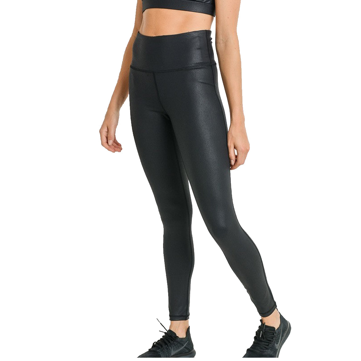 Mono B Women's Highwaist Foil Scale Print Full Leggings - Black