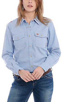 Ariat Distressed Flame Resistant Blue Women's Work Shirt