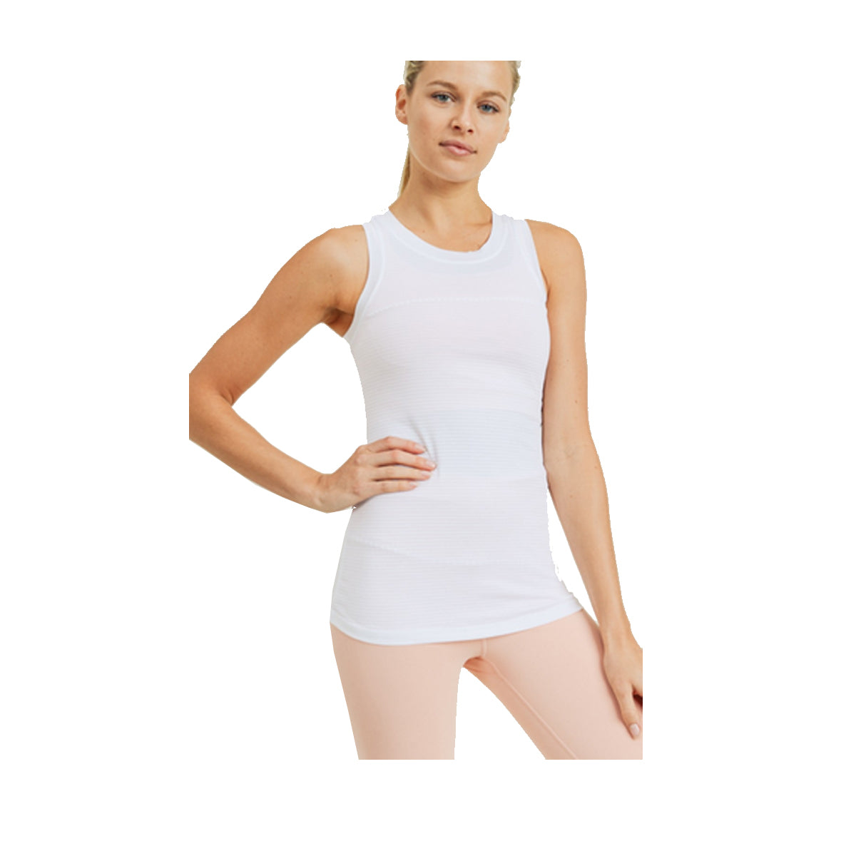 Mono B Women's Active Racerback Tank Top - White Stripe