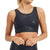 Mono B Overlay Metallic Foil Print Cut Out Sports Bra - Navy Black Foil