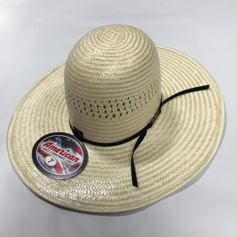 "4 1/2"" Brim Black Straw Hat By American Hat Co."