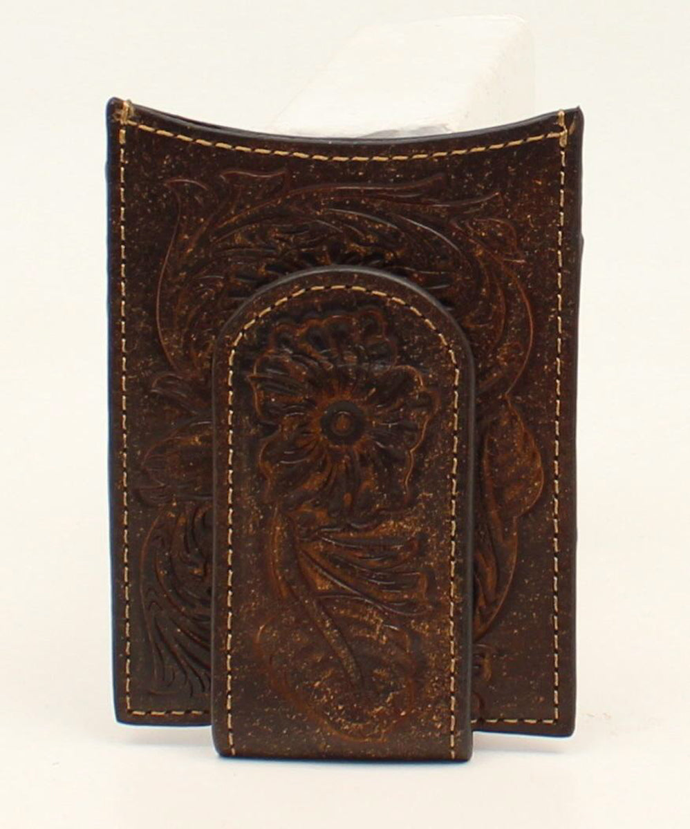 Ariat Tooled Dark Leather Embossed Money Clip