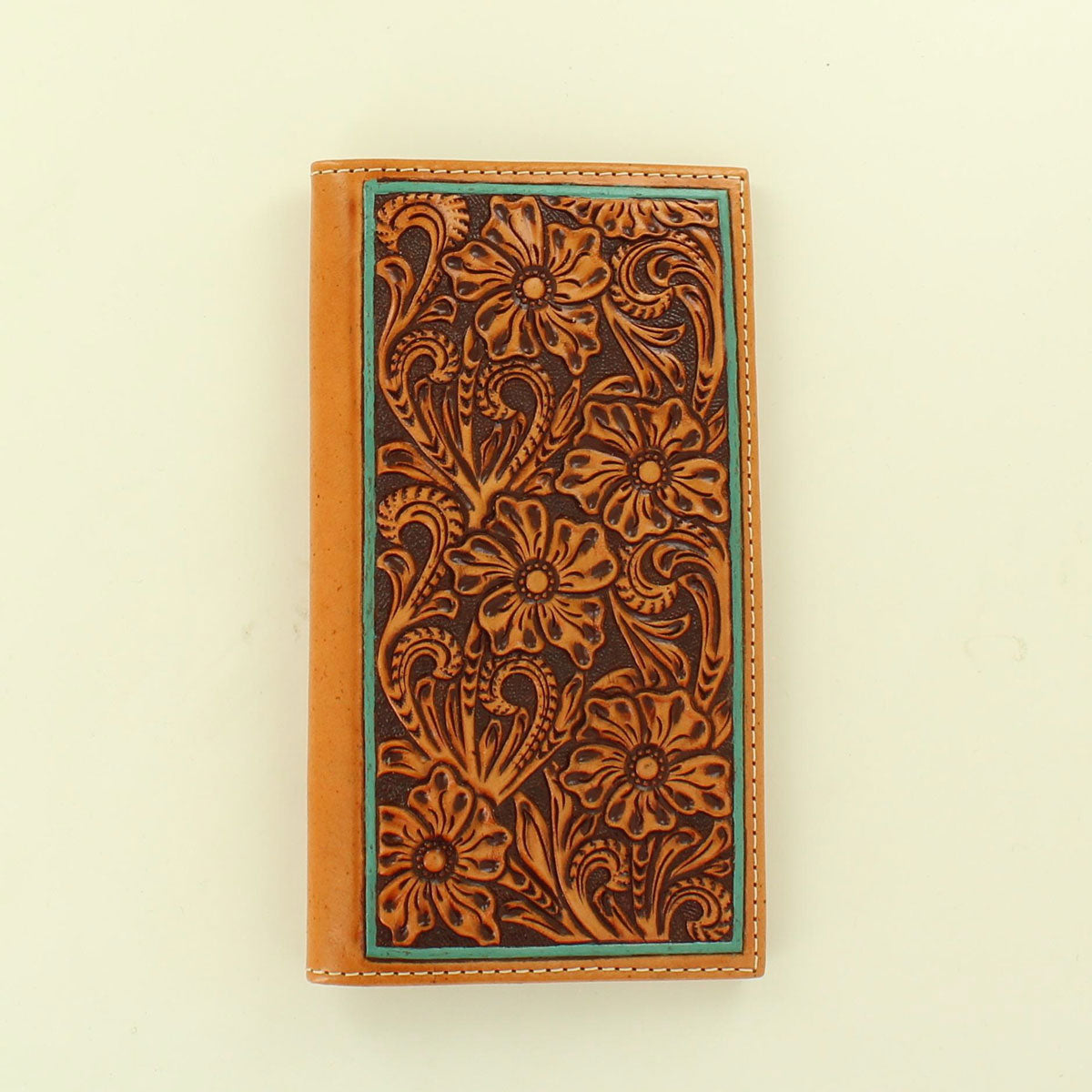 Ariat Tan Floral Tooled Rodeo Wallet