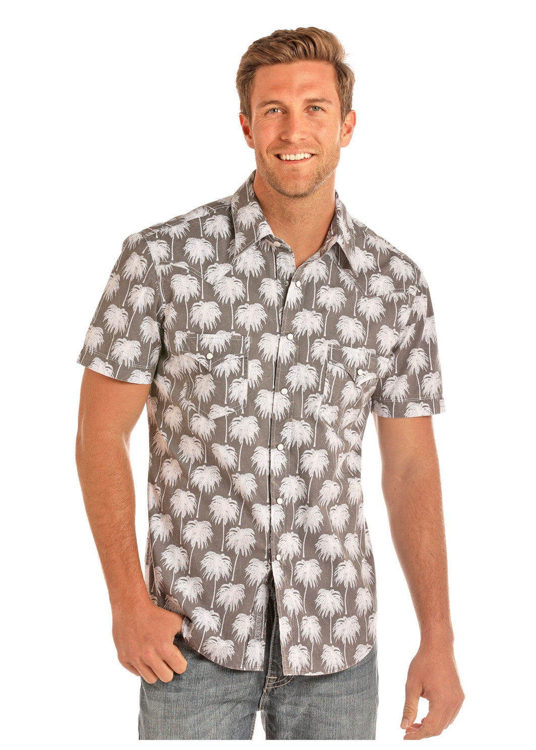 Rock And Roll Palm Tree Print Short Sleeve