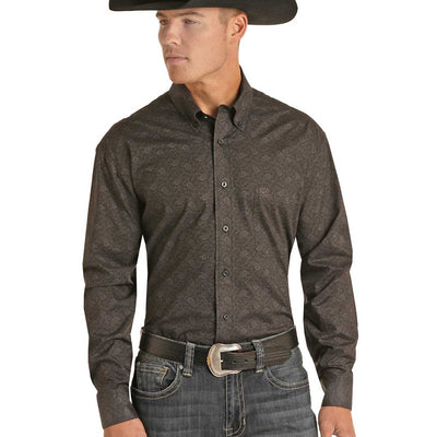 Rock & Roll Cowboy Men's Long Sleeve Button Down Shirt - Black