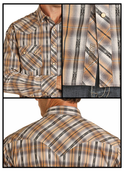 Rock & Roll Cowboy Long Sleeve Dobby Yarn Dye Plaid Shirt