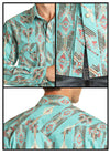 Rock & Roll Caribbean Print Pearl Snap Shirt