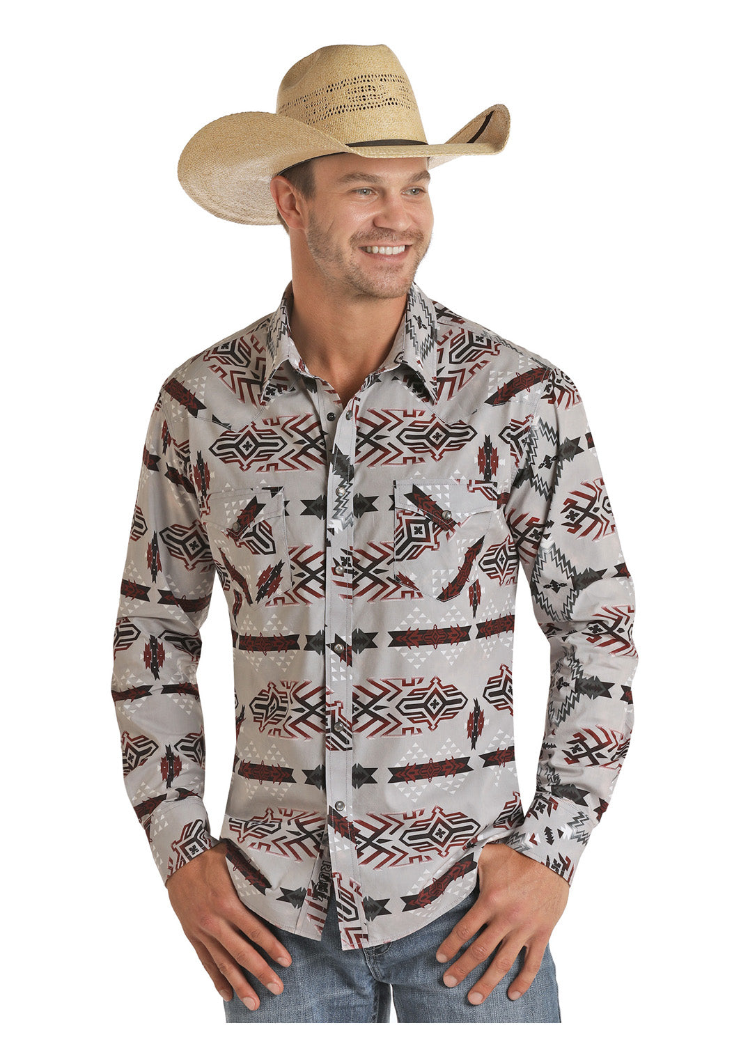 Panhandle Men's L/S Wine Aztec Pearl Snap