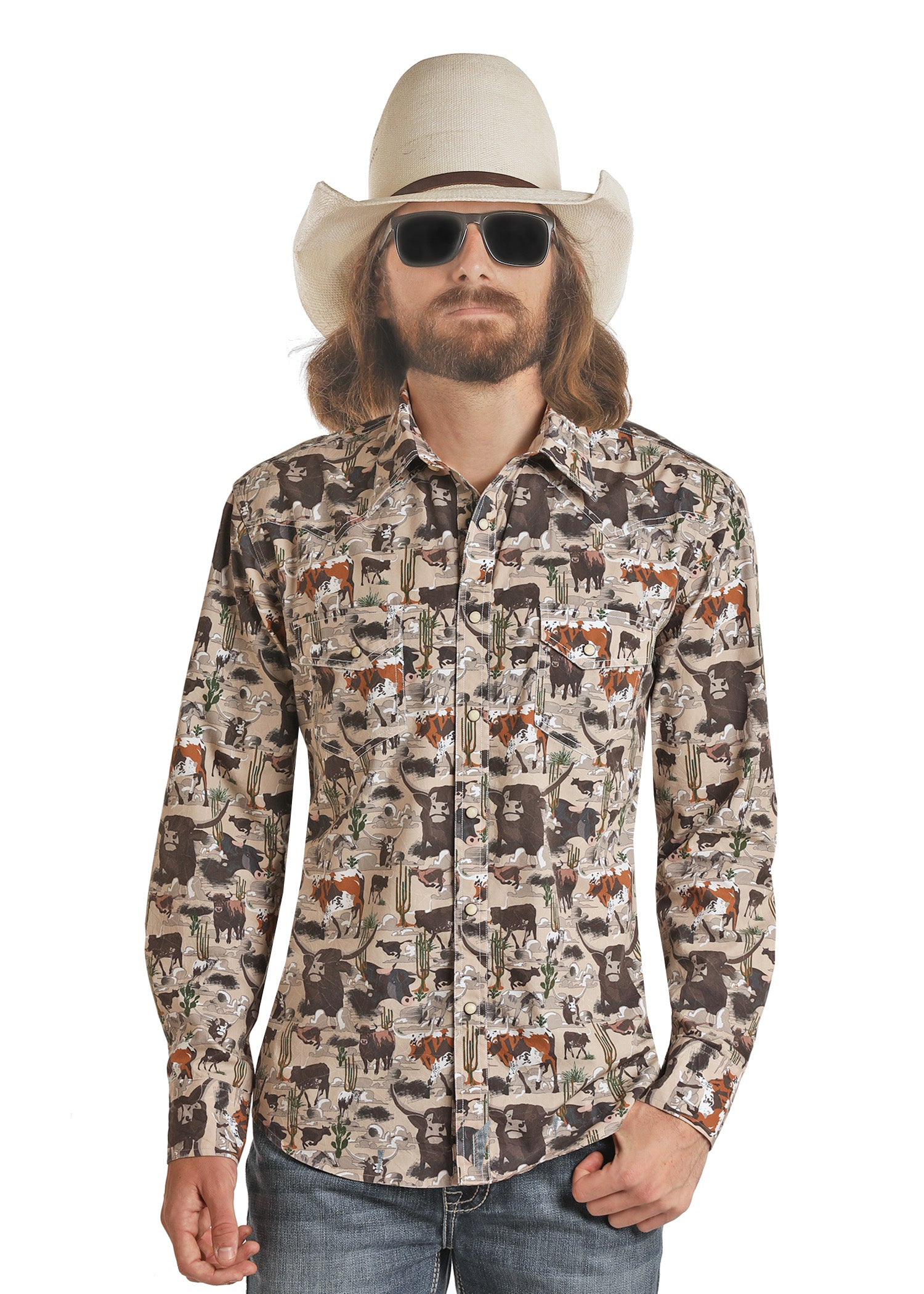 Panhandle Men's Long Sleeve Pearl Snap Shirt