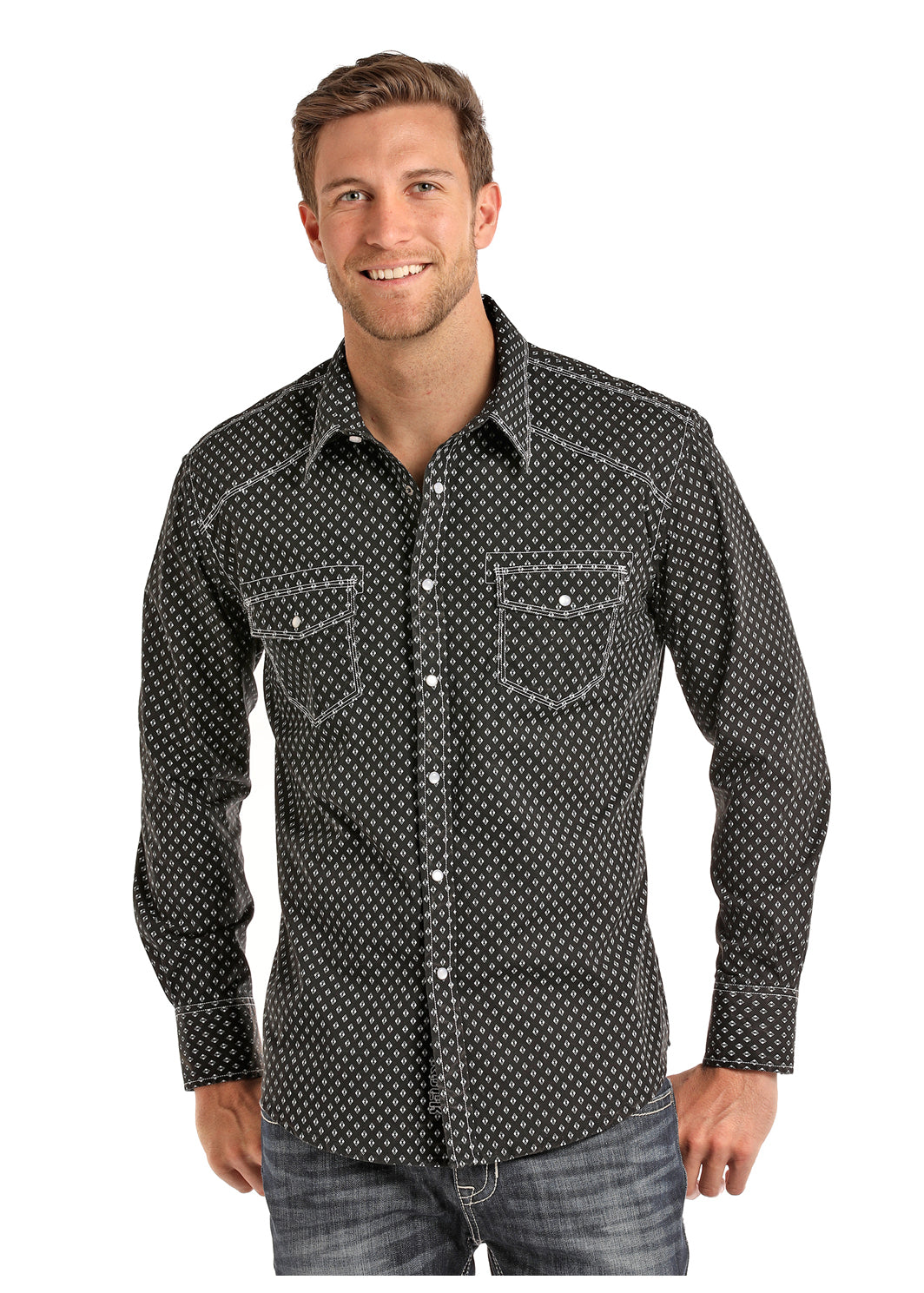 Rock N Roll Black Crinkle Poplin Print Men's Snap Shirt