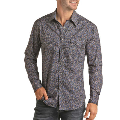 Panhandle Men's Floral Print Pearl Snap Long Sleeve Shirt - Navy