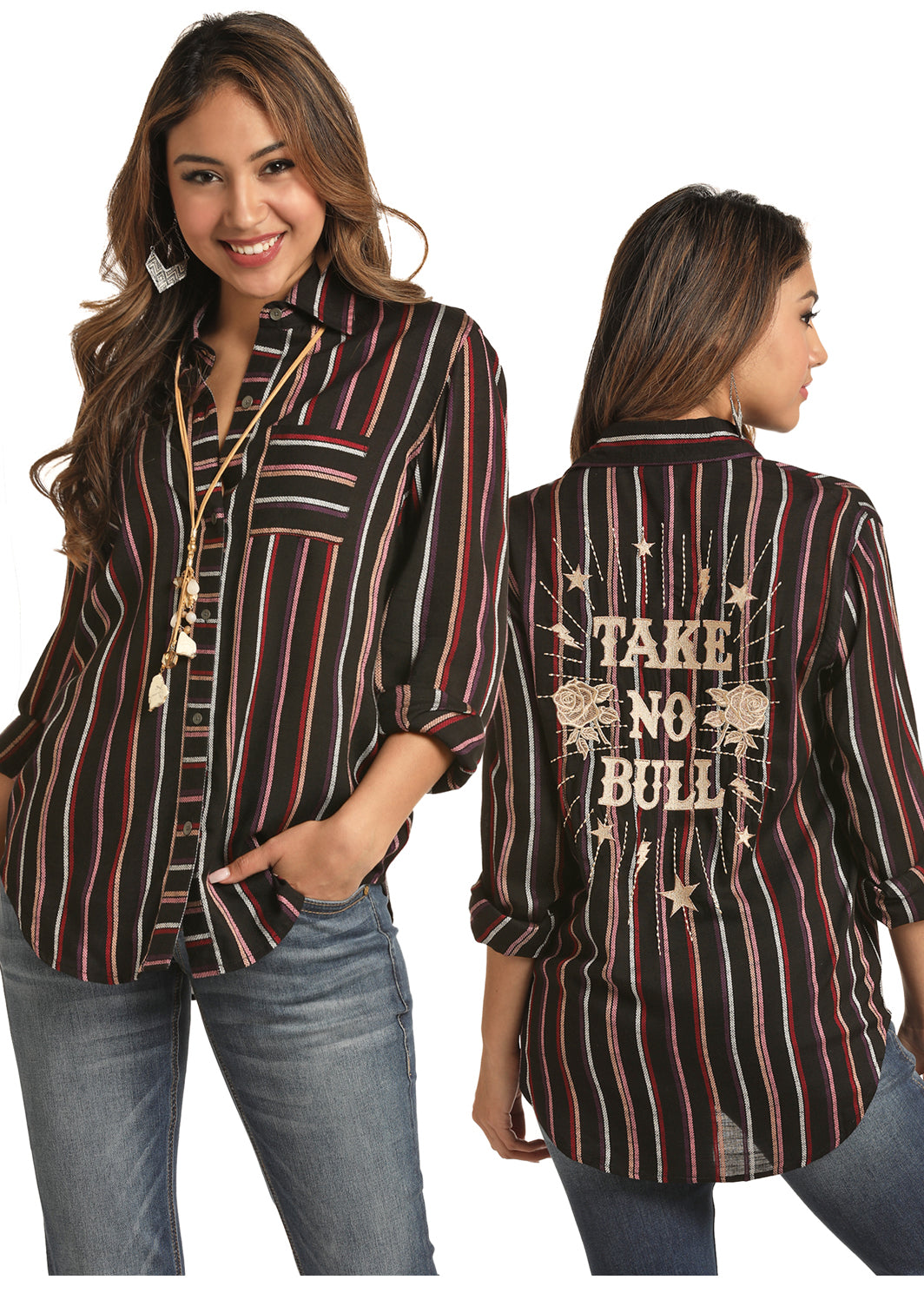 Rock N Roll Cowgirl Take No Bull Women's Button Down