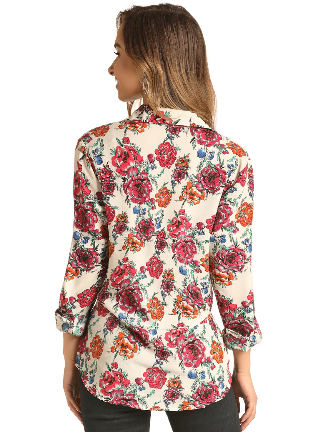 Rock N Roll Cowgirl Long Sleeve Twist Front Floral Top