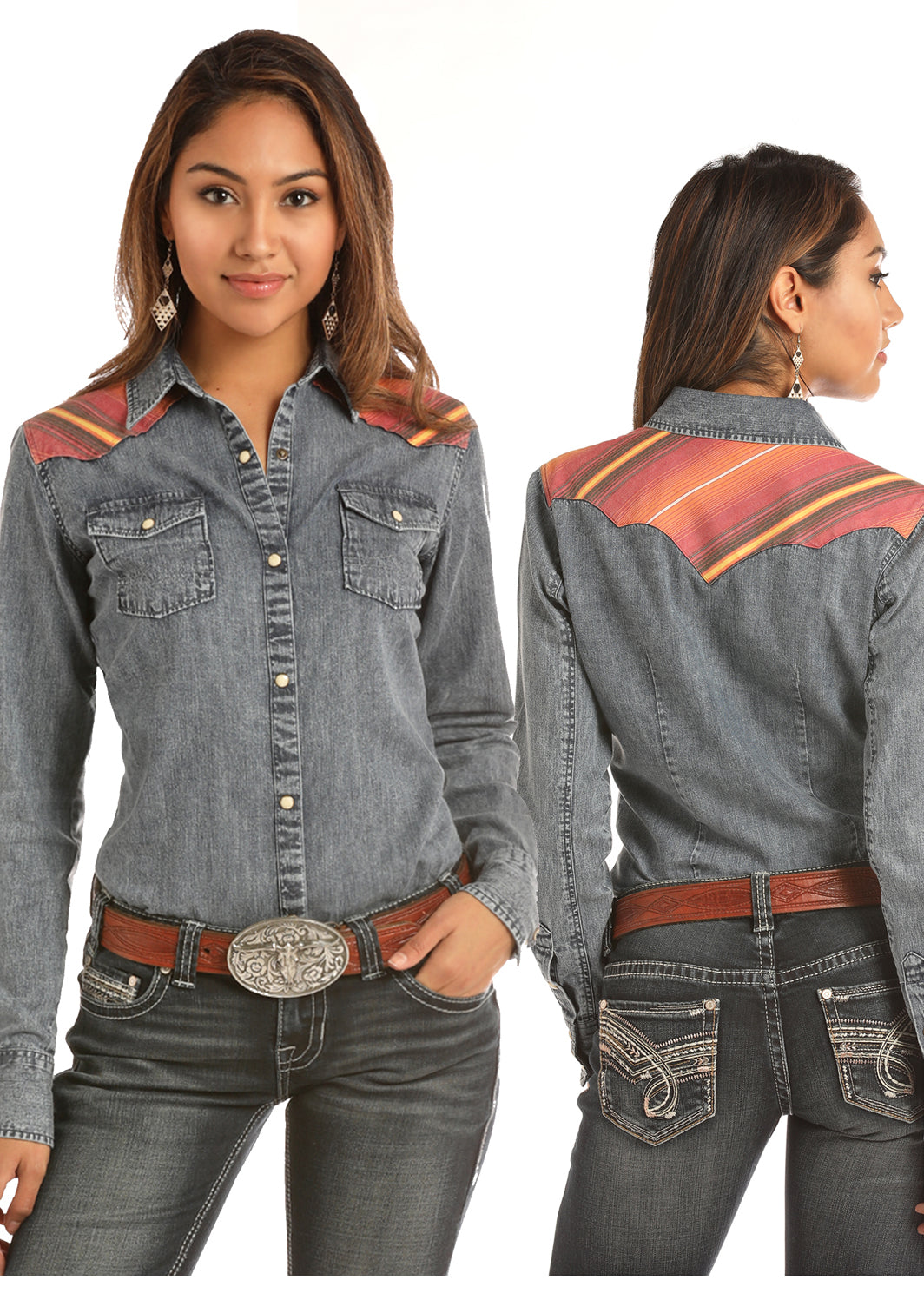 Rock N Roll Cowgirl Bleached Denim Women's Pearl Snap Shirt