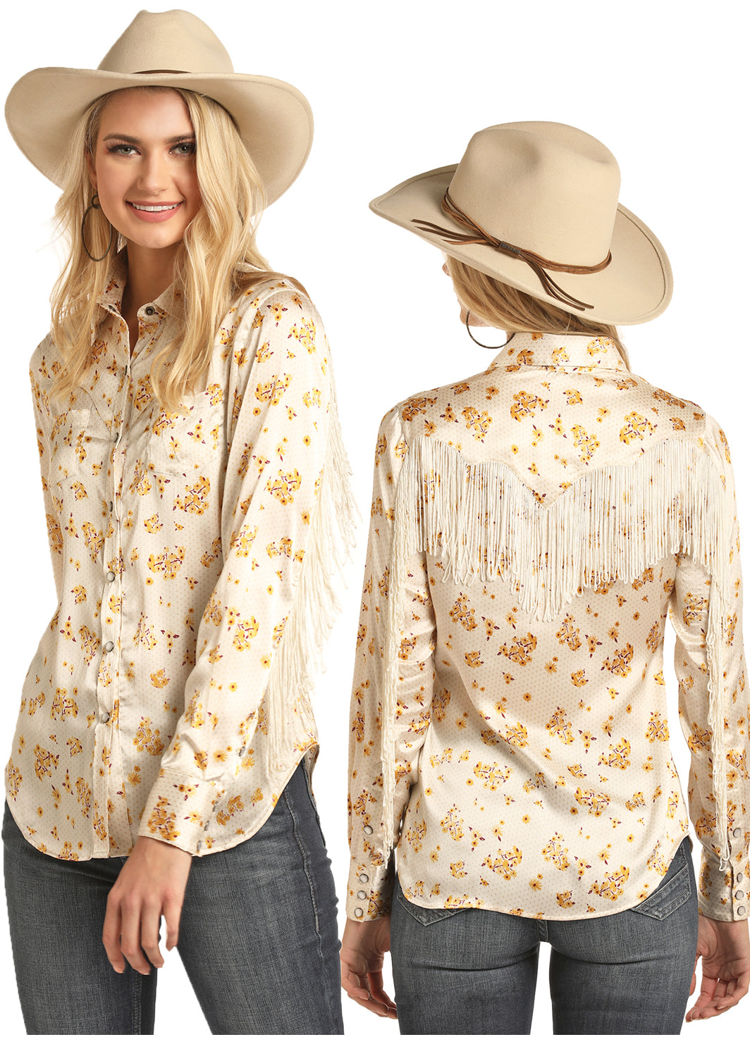Rock N Roll Cowgirl Tan Fringe Women's Pearl Snap