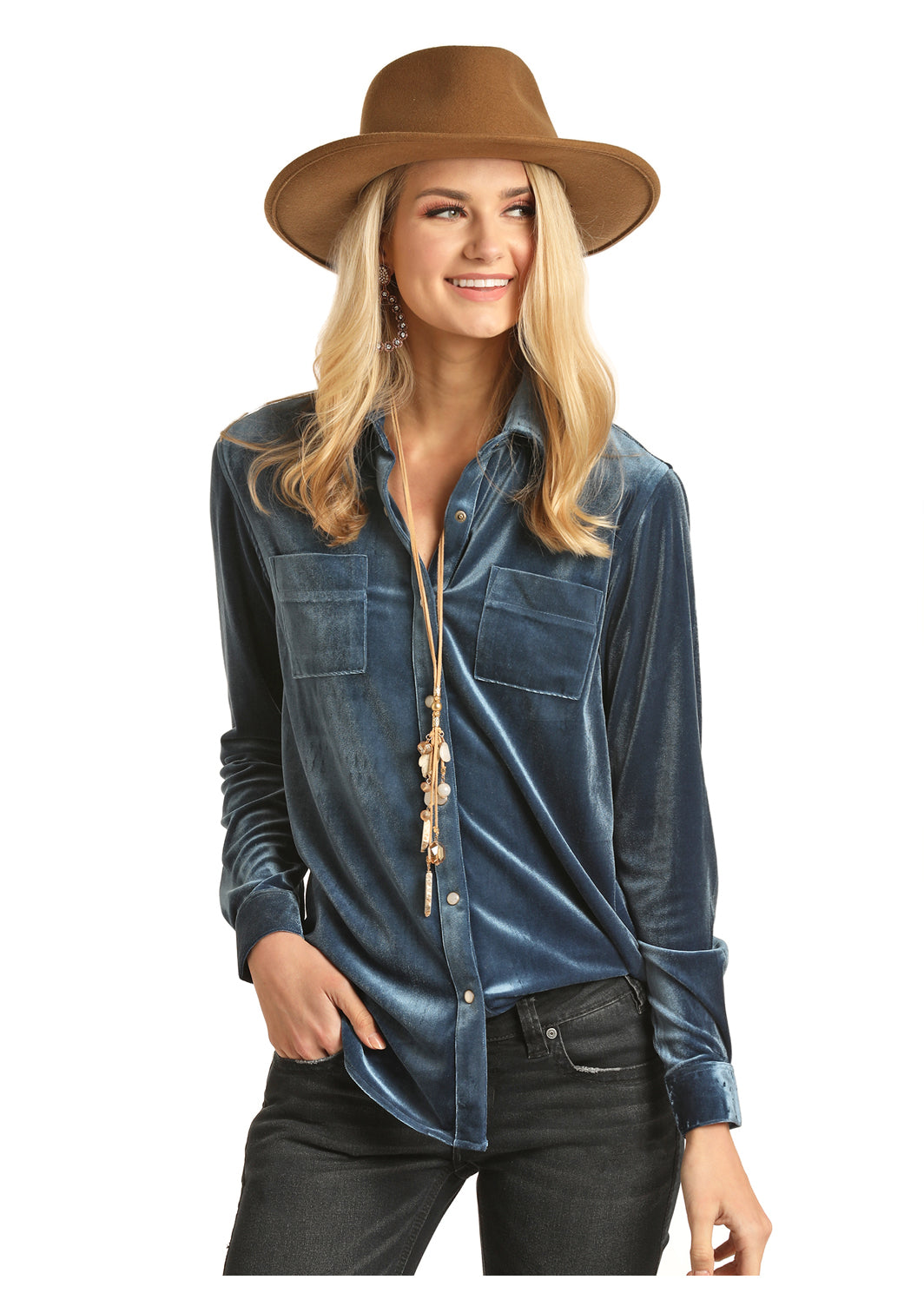 Rock N Roll Cowgirl Indigo Velvet Women's Snap Blouse