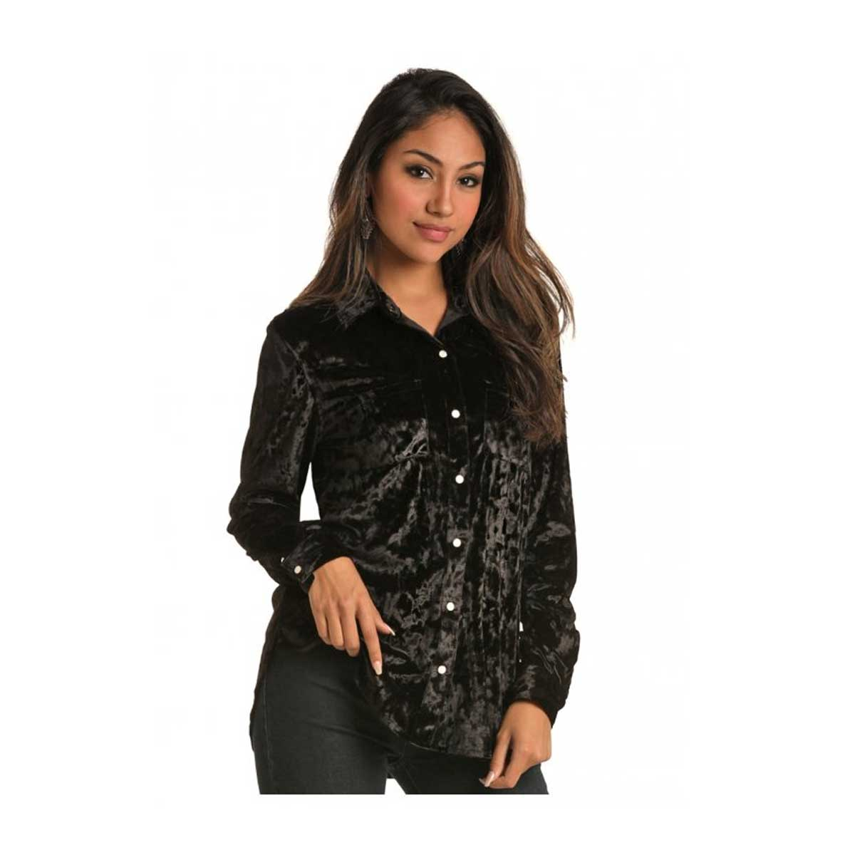 Panhandle Black Velvet Snap Long Sleeve Shirt