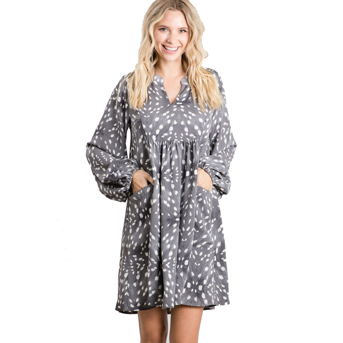 Jodifl Women's Print Baby Doll Bubble Sleeve Dress - Charcoal