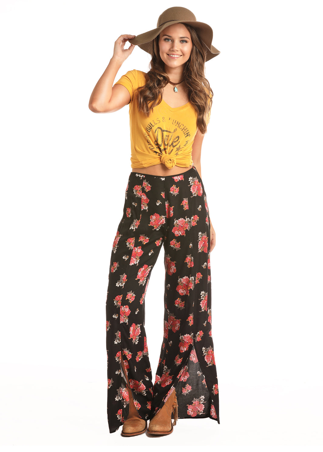 Cowgirl Tuff Floral Wide Leg Women's Pant