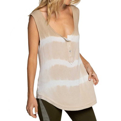 Pol Clothing Women's Gone with the Stripe Knit Tank Top - Taupe Stripe