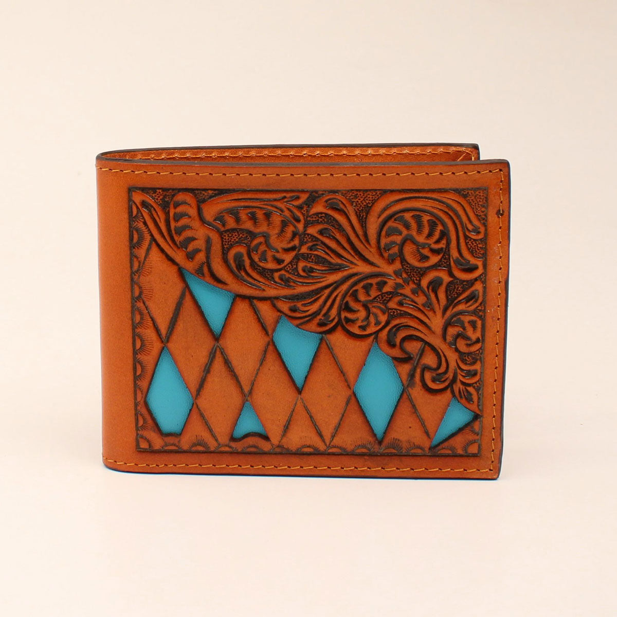 Bifold Leather Turquoise Diamond Tooled Wallet