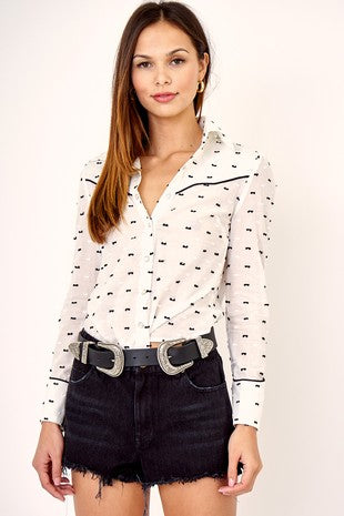 Western Chic Women's Button Up Top