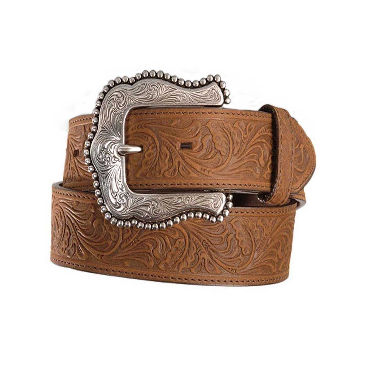 Leegin Creative Leather Women's Tony Lama Layla Floral Tooled Belt - Brown