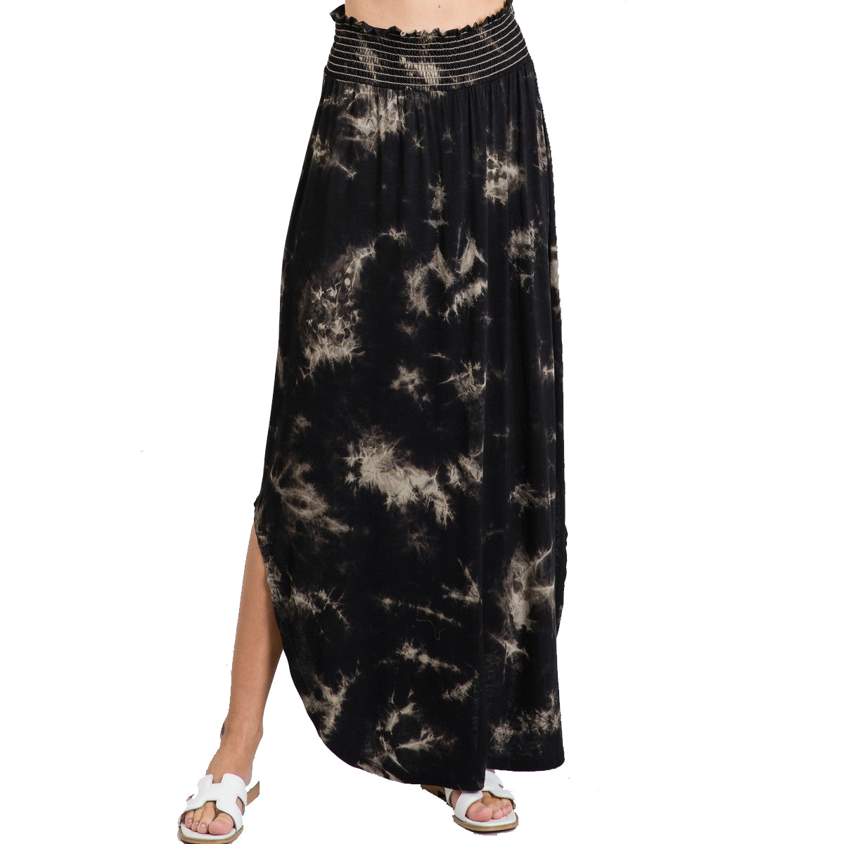 Jodifl Women's Tie-Dye Smocked Waist Maxi Skirt - Black