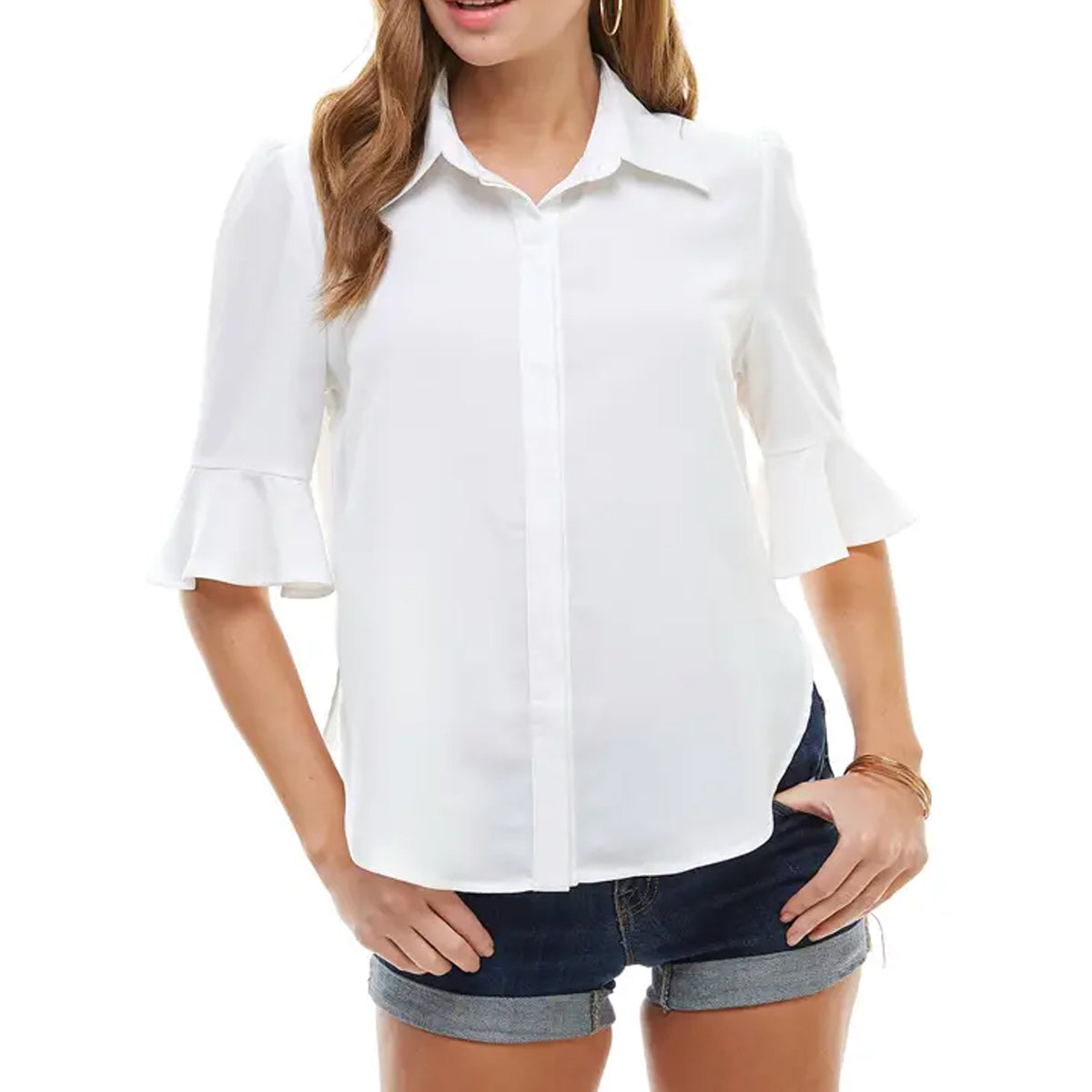 TCEC Women's Button Down Top - White