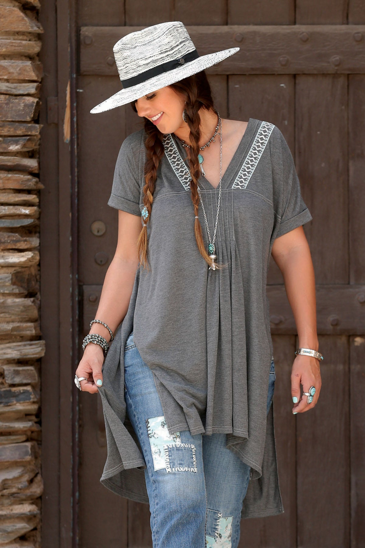 Cruel Girl Grey Embroidered Tunic Top