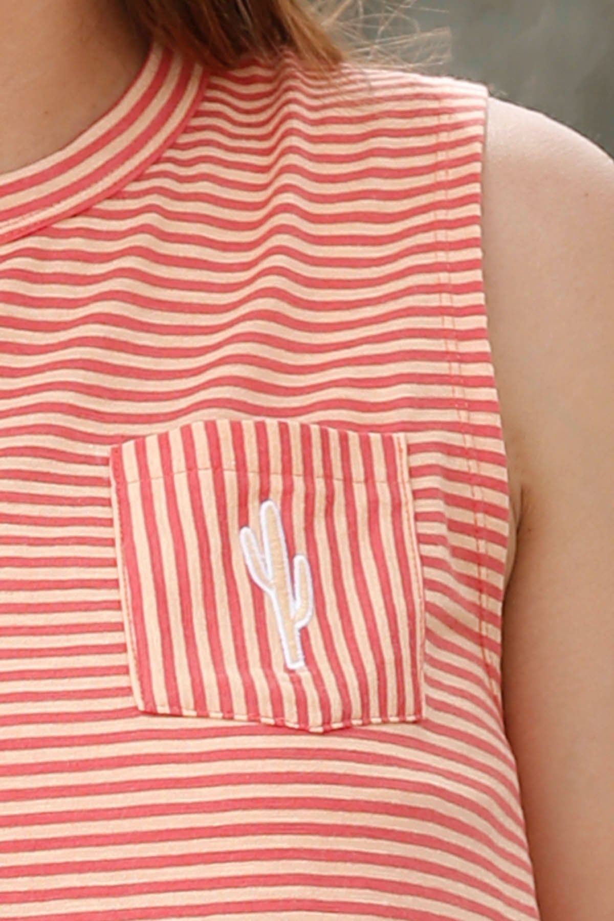 Cruel Girl Women's Red Orange Cactus Stripe Tank