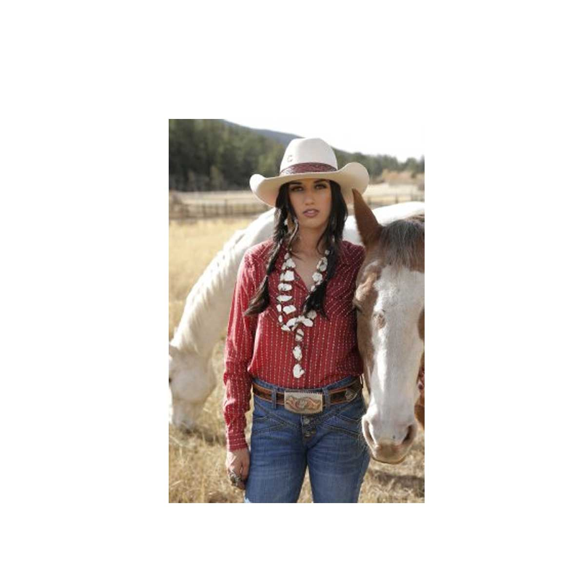 Cruel Girl Women's Girlfriend Fit Snap Western Shirt - Red Printed