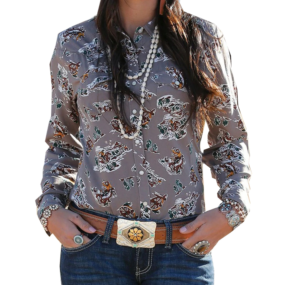 Cinch Cruel Girl Women's Long Sleeve Western Print Snap Shirt - Stone
