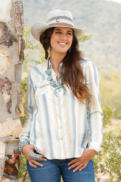 Women's Woven Stripe Pearl Snap Pastel Shirt