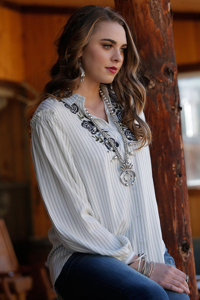 Cruel Girl White Embroidery Stripe Women's Blouse