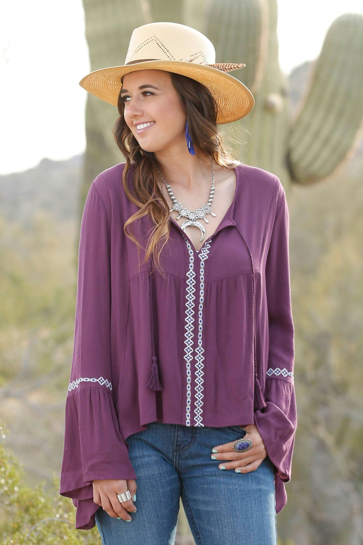 Cruel Girl Purple V-Neck Blouse