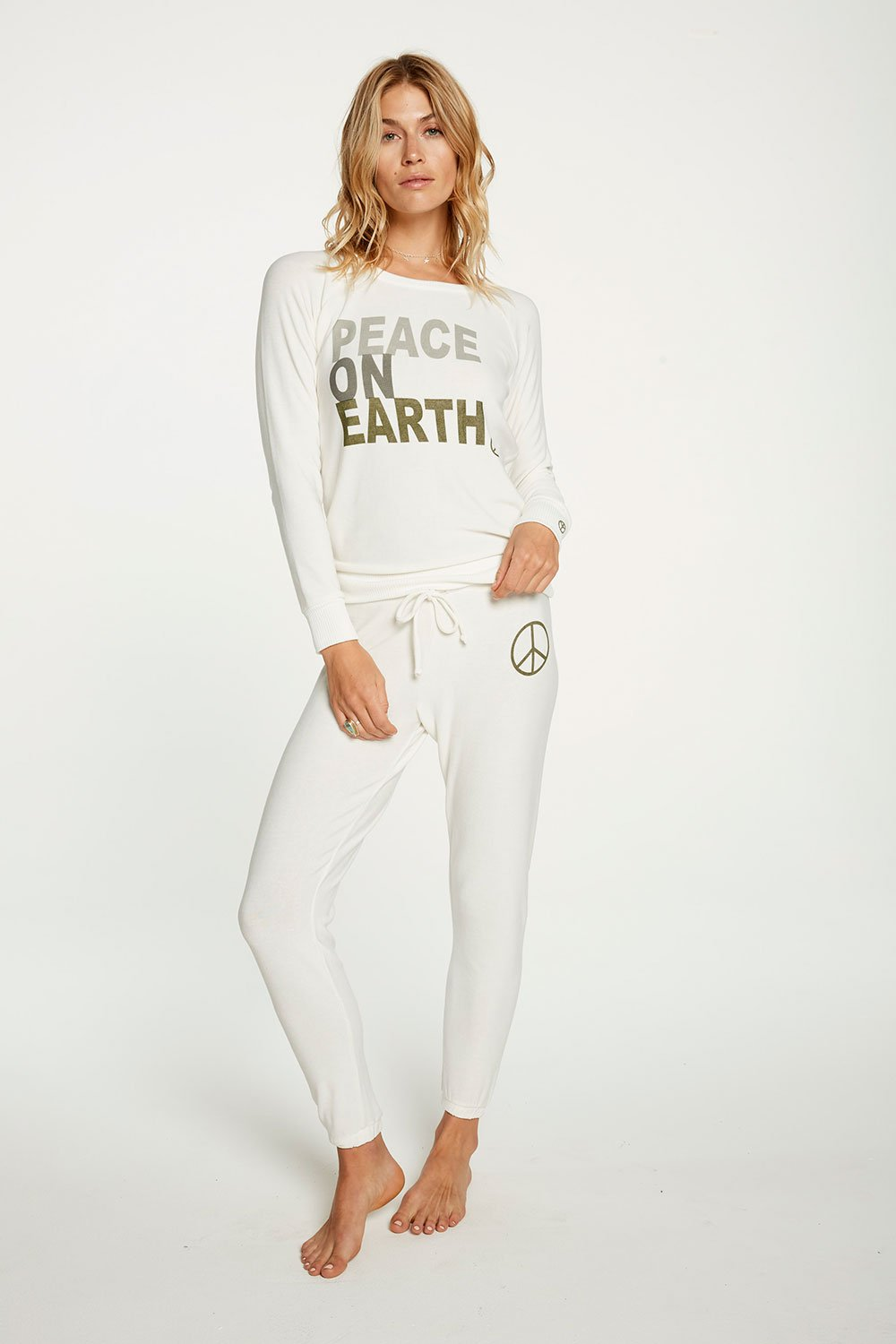 Chaser Peace on Earth Long Sleeve Knit Shirt