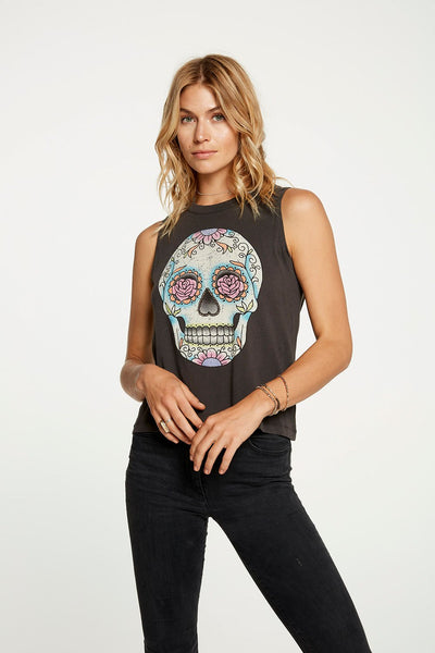 Chaser Charcoal Sugar Skull Graphic Tank
