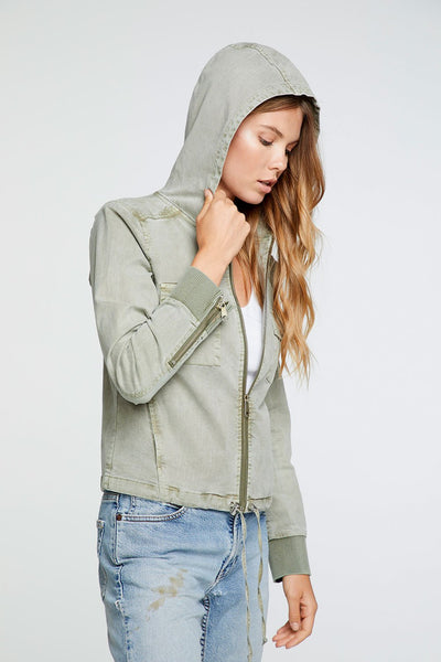 Chaser Stretch Twill Hooded Zip Up Jacket