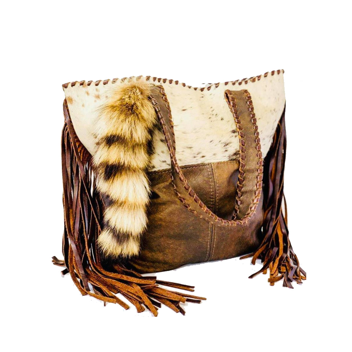 Rusty Diamond Designs Cowhide Shoulder Bag with Coon Tail