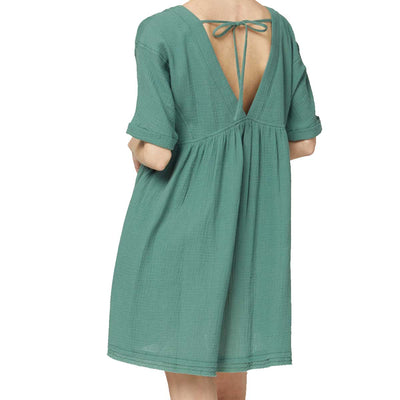 Entro Women's Solid V-Neck Babydoll Dress - Forest