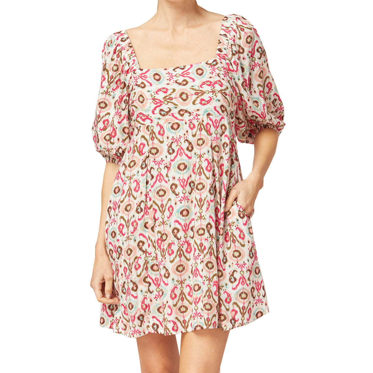 Entro Women's Printed Square Neck Puff Sleeve Dress - Fuchsia Mint