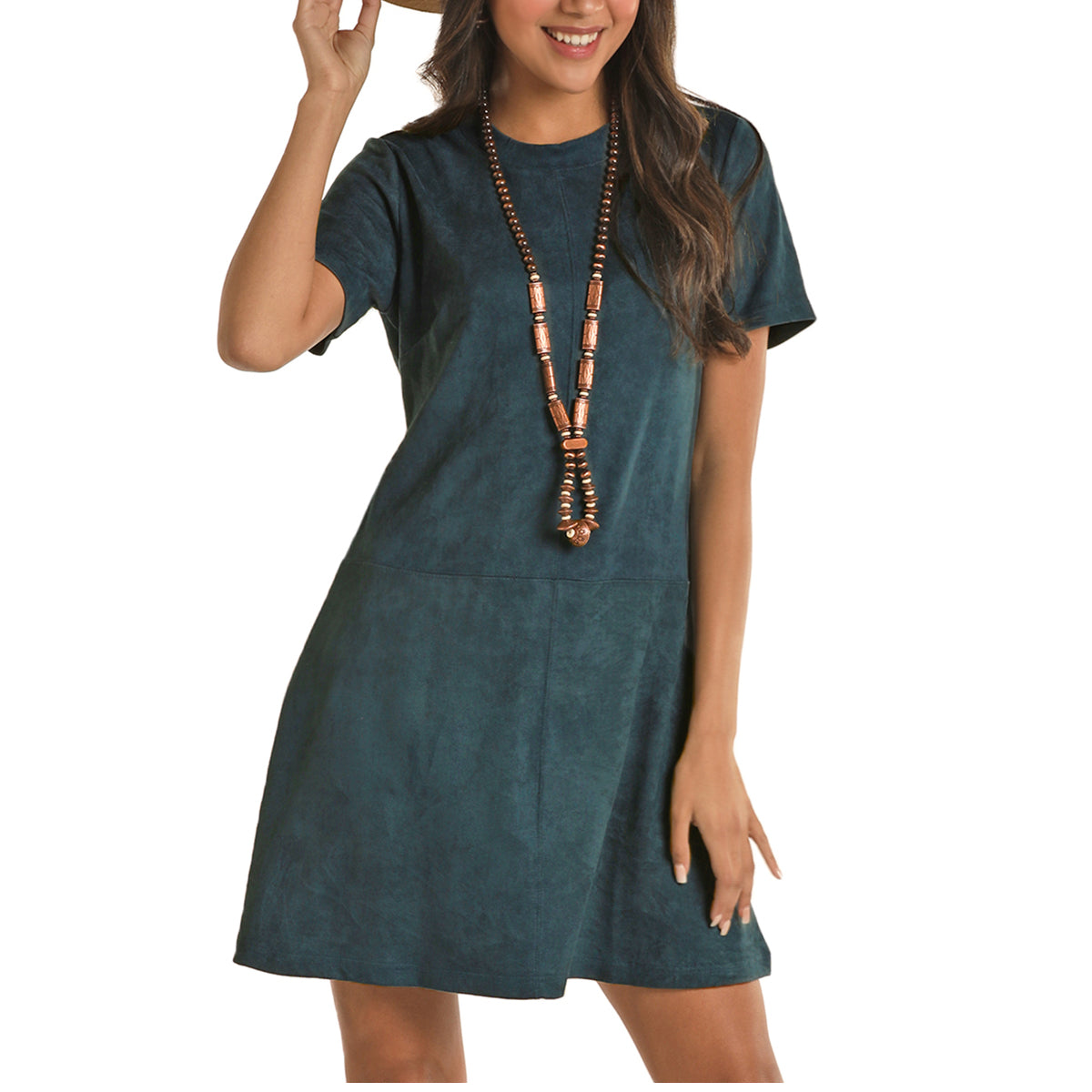 Rock & Roll Cowgirl Women's Microsuede Dress - Teal