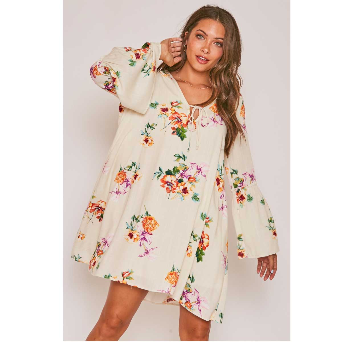 Peach Love California Long Sleeve Floral Print Flowy A-Line Mini Dress