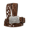 Angel Ranch Women's Floral Tooled Leather Belt